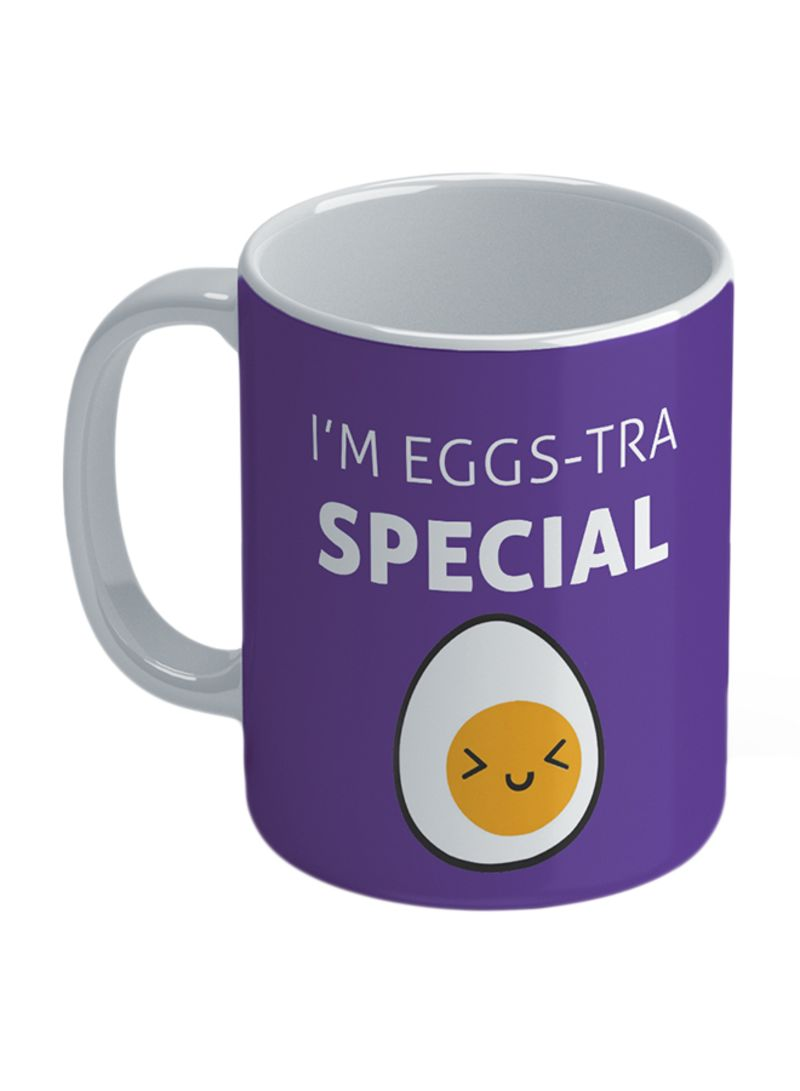 Foodie: Eggs Tra Special Printed Coffee Mug Violet 11 ounce