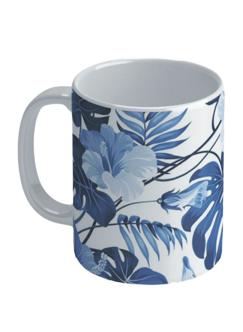 Flowers And Leaves Printed Coffee Mug Multicolour 11 ounce