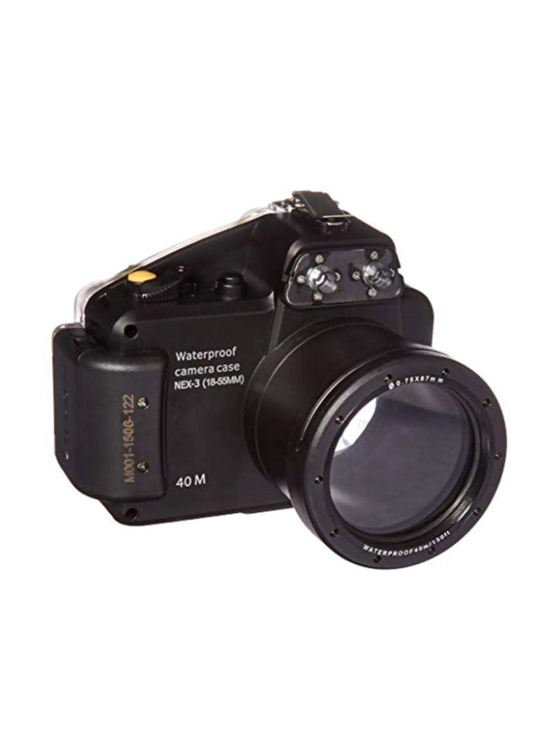 Waterproof Camera Case For Sony Alpha NEX-3 Digital Camera With 18-55 mm Lens Black