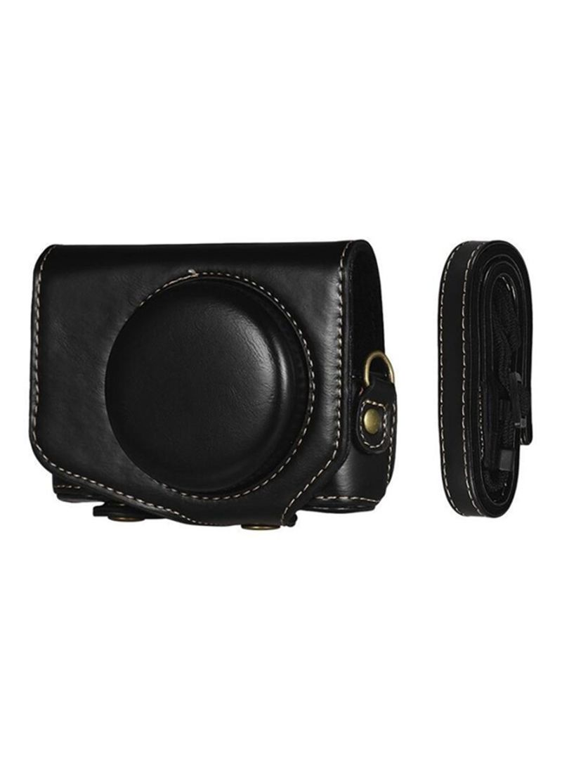 Protective Camera Case With Strap For Canon Powershot G7 X Mark II/G7X II Black 9 x 6.2 x 11.2 centimeter