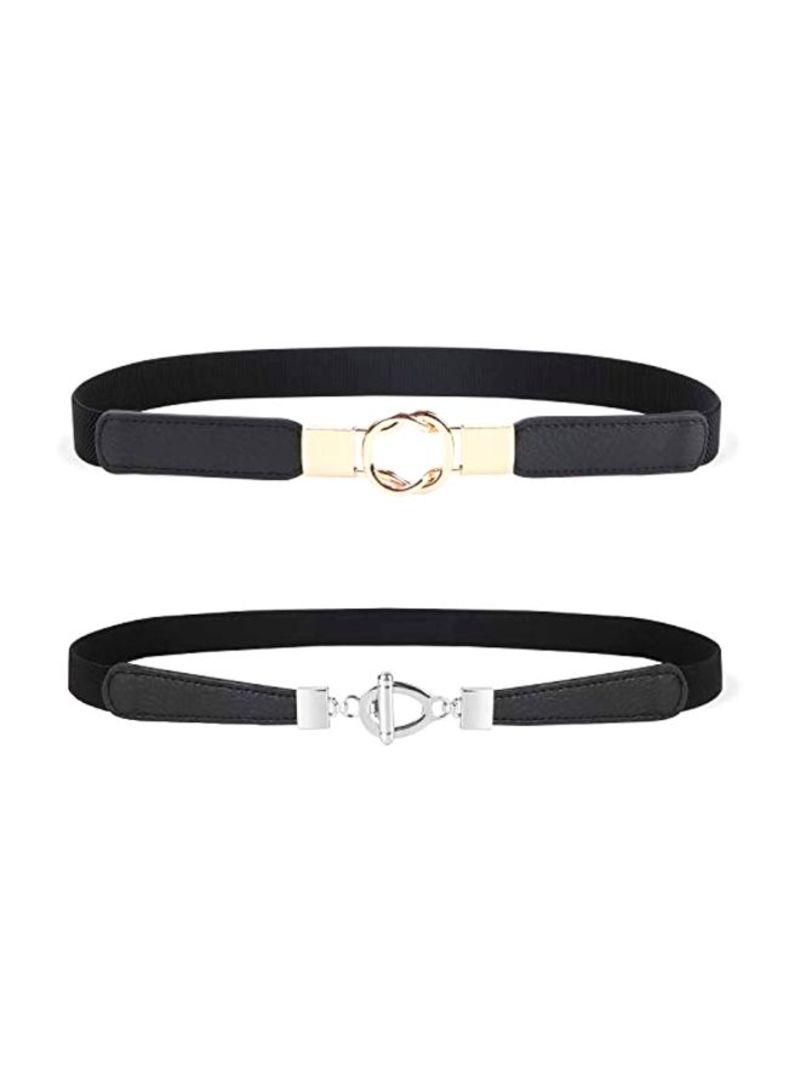 2-Piece Retro Style Waist Belts 4-Black/Black