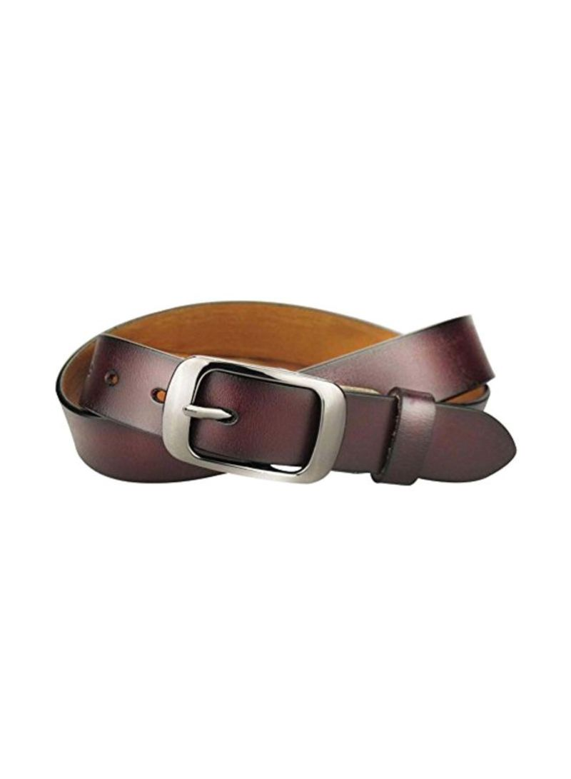 Leather Belts With Polished Buckle Coffee/Black Buckle