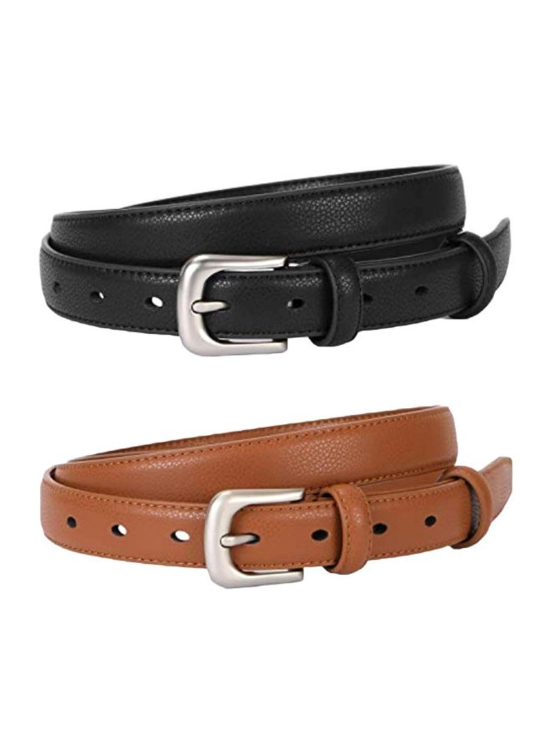 2-Piece Leather Belts No.1 Black/Brown