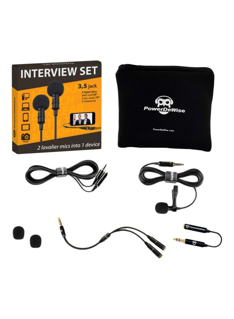 Professional Grade 2 Lavalier Lapel Microphones Set For Dual Interview B07CHCSLVC Black
