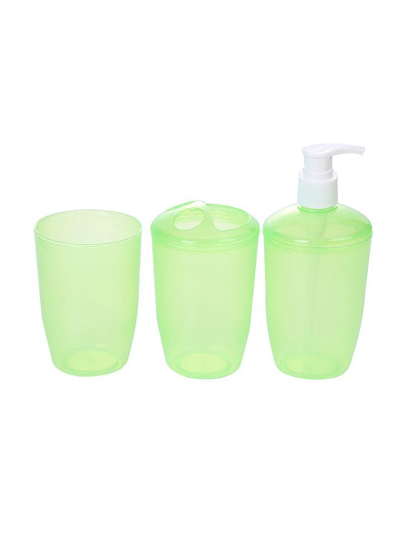 3-Piece Bathroom Accessories Set Green 30 centimeter