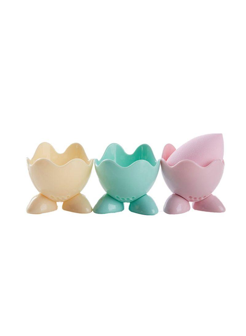 3-Piece Dried Eggs Bracket Cosmetics Puff Holder Multicolour