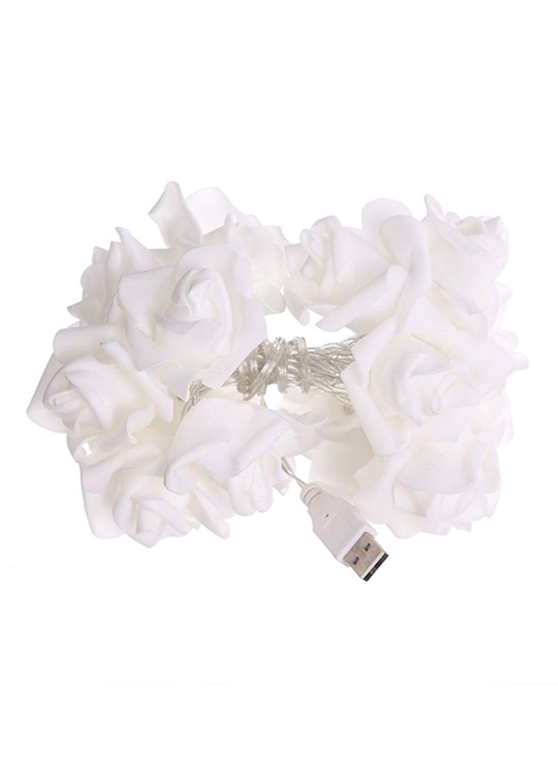 20 LED Wedding Rose Pattern Romantic Chains String Lights Yellow 2.3 meter