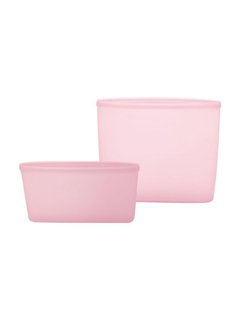 3-Piece Reusable Food Storage Container Set Pink 18 x 8.5 x 17 centimeter