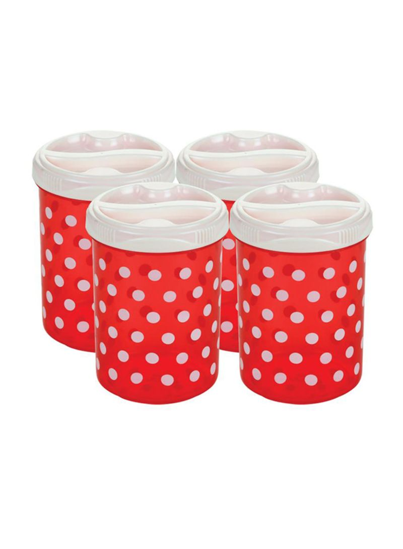 4-Piece Polka Design Cereal Container Red/White