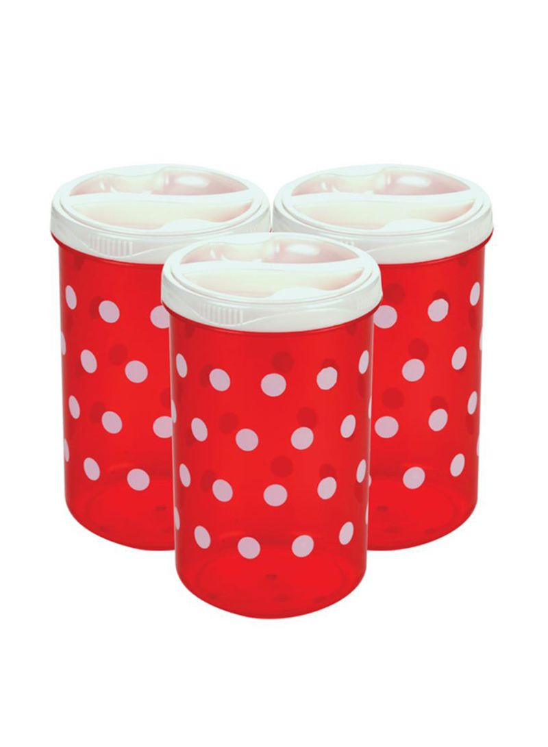 3-Piece Polka Design Cereal Container Red/White