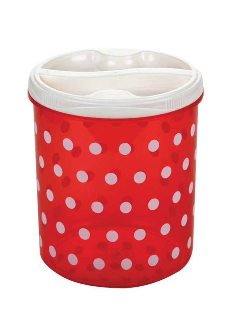 Polka Design Cereal Container Red/White