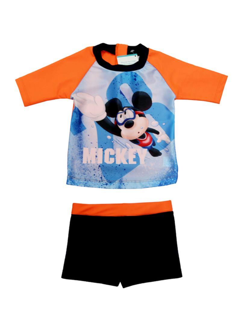 2 Piecemickey Mouse Printed Swimwear Set Orange