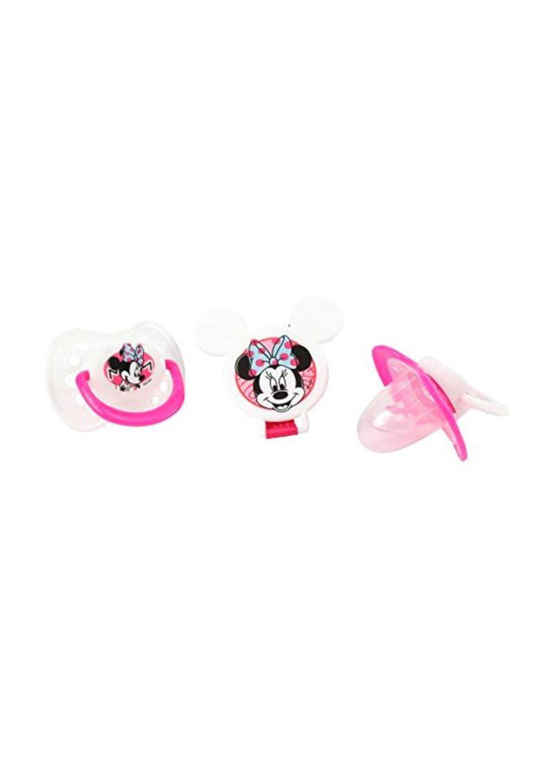 2-Piece Minnie Mouse Pacifiers And Pacifier Clip Set