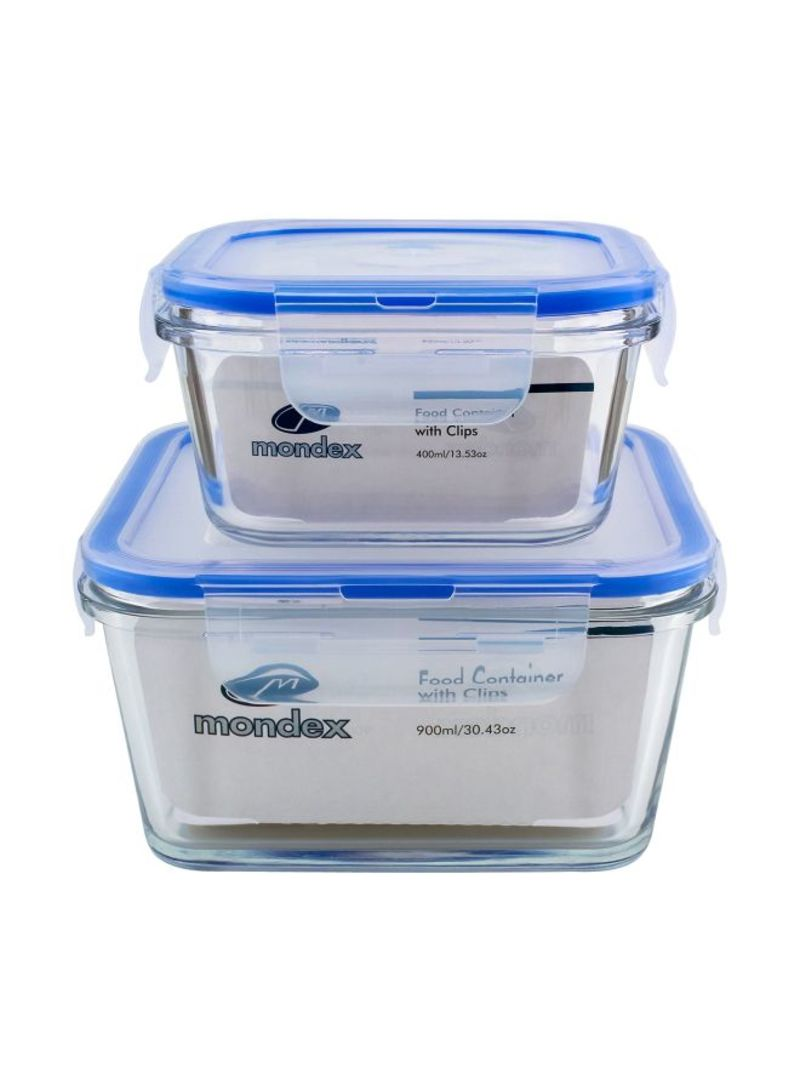 2-Piece Food Storage Container With Lid Clear/Blue