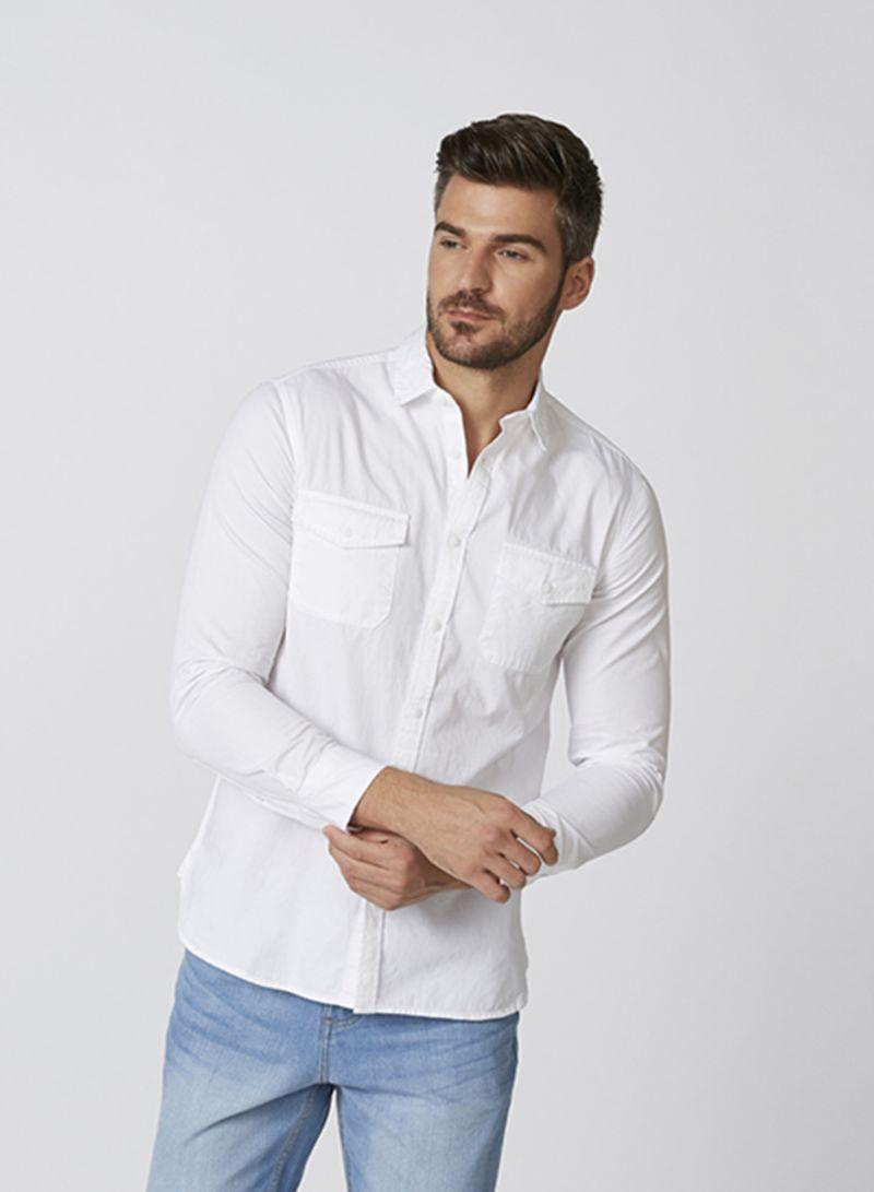 Zoosk Pocket Detail Shirts White