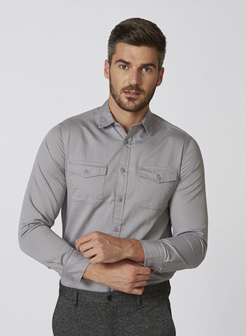 Zoosk Pocket Detail Shirts Grey