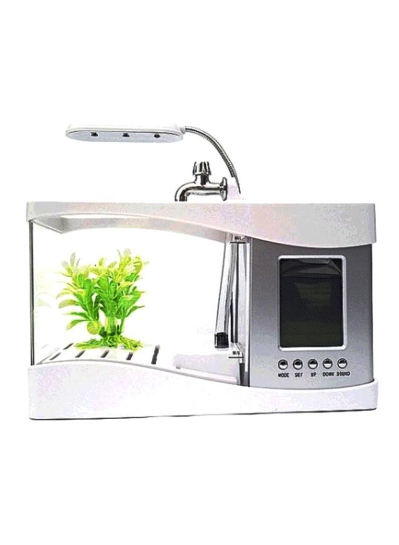 USB LCD Fish Tank Aquarium With Clock Display White 30 centimeter