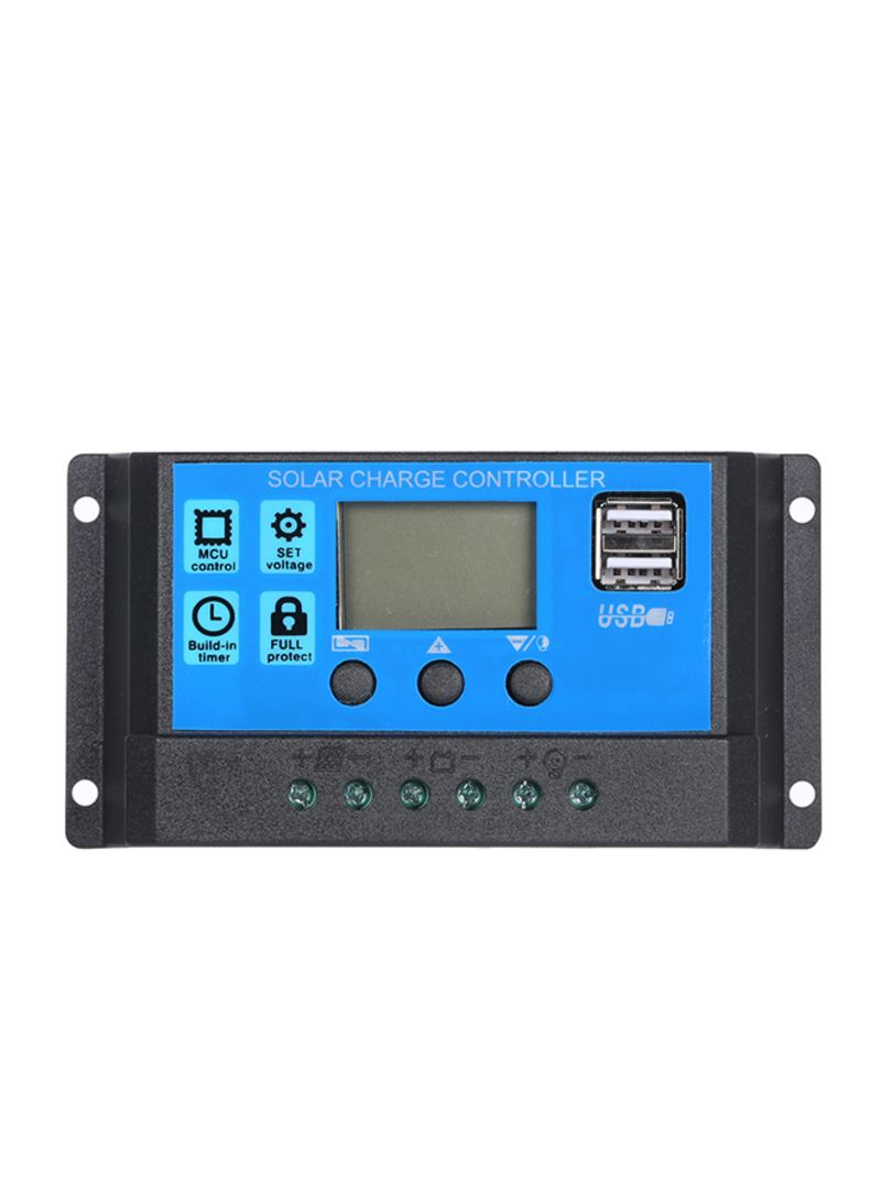 Solar Panel Battery Charge Controller With Dual USB Black 13.50*4.00*8.00 centimeter