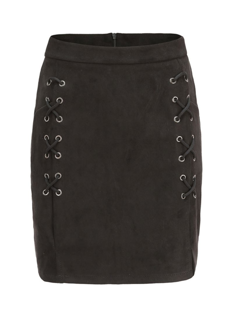 Lace Up Suede Leather Pencil Skirt Black