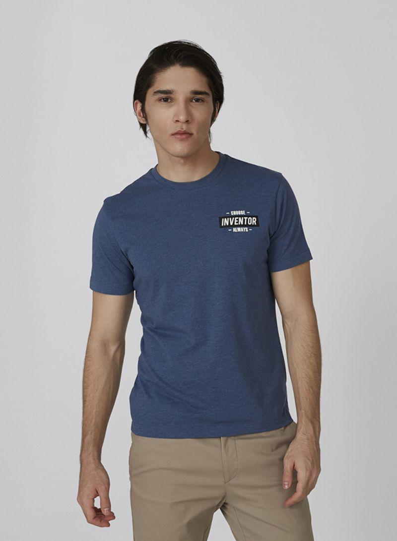 Men Tops Regular T-Shirt Blue