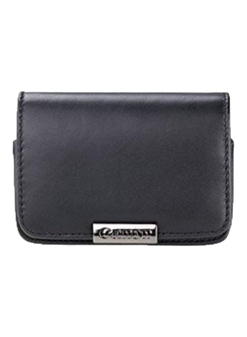 Leather Camera Case With Belt Loop For Canon PowerShot Black