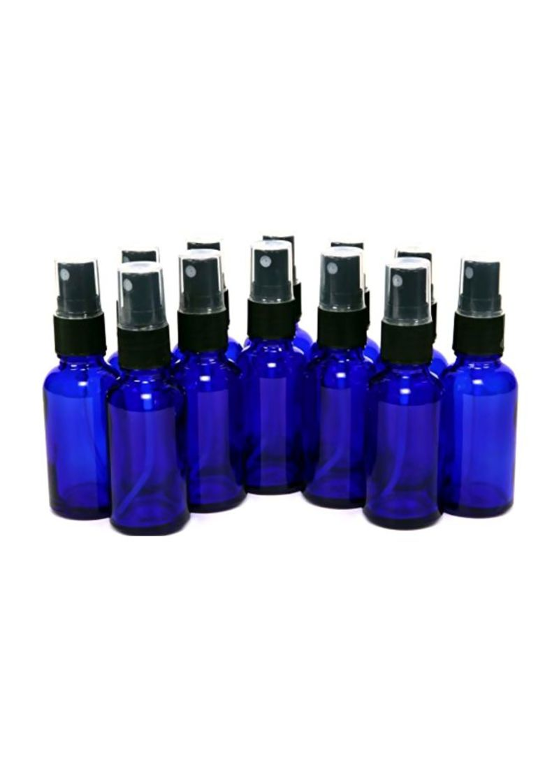 12-Piece Glass Bottles with Black Fine Mist Sprayer Cobalt Blue