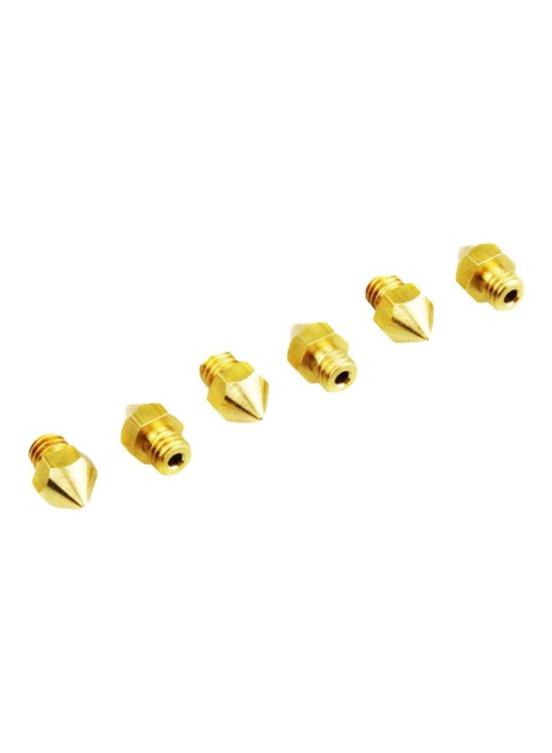 6-Piece MK8 3D Printers Extruder Threaded Nozzle Set Gold