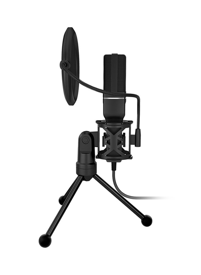 Computer Game Recording Condenser Microphone with Pop Filter And Tripod Stand SF-777 V6461 Black