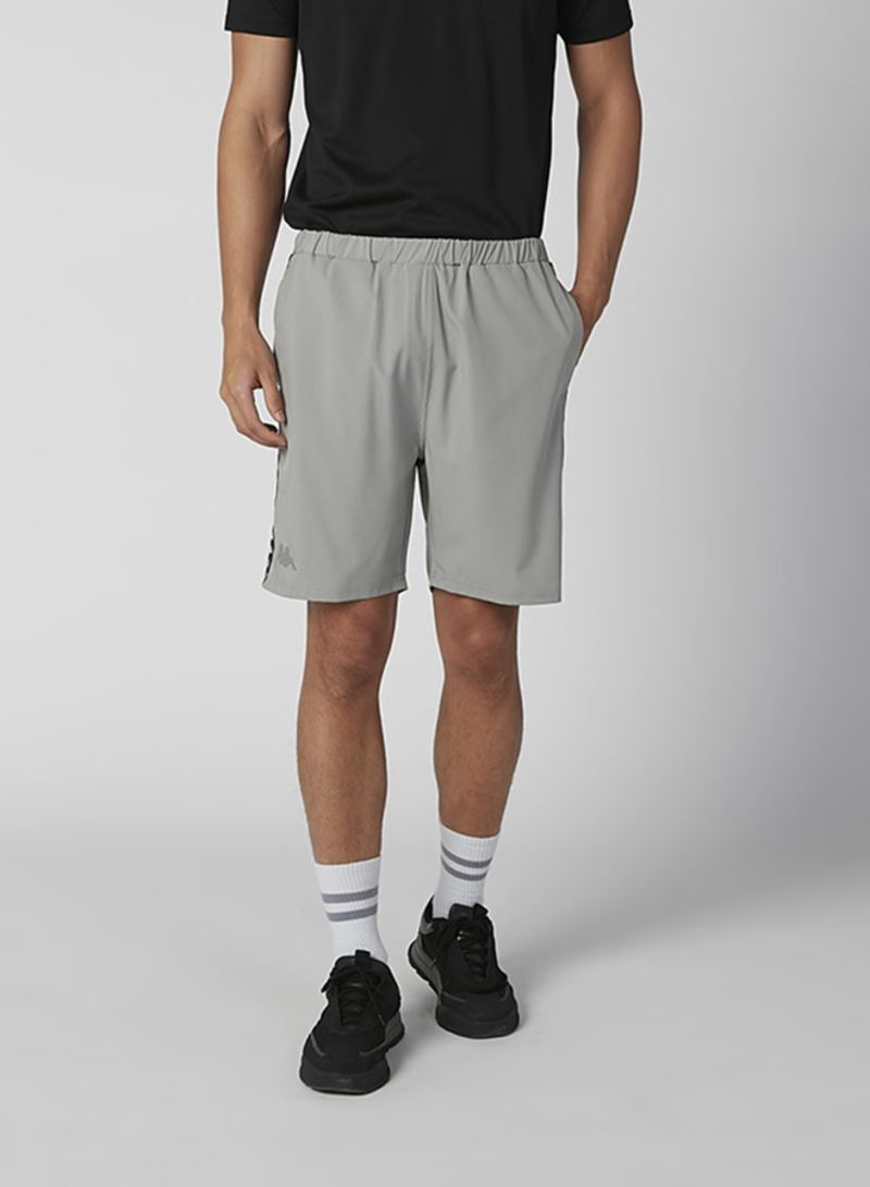 Solid Design Mid Waist Shorts Grey