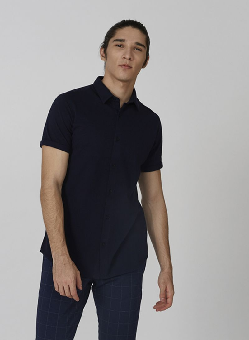 Solid Design Polo T-shirt Blue