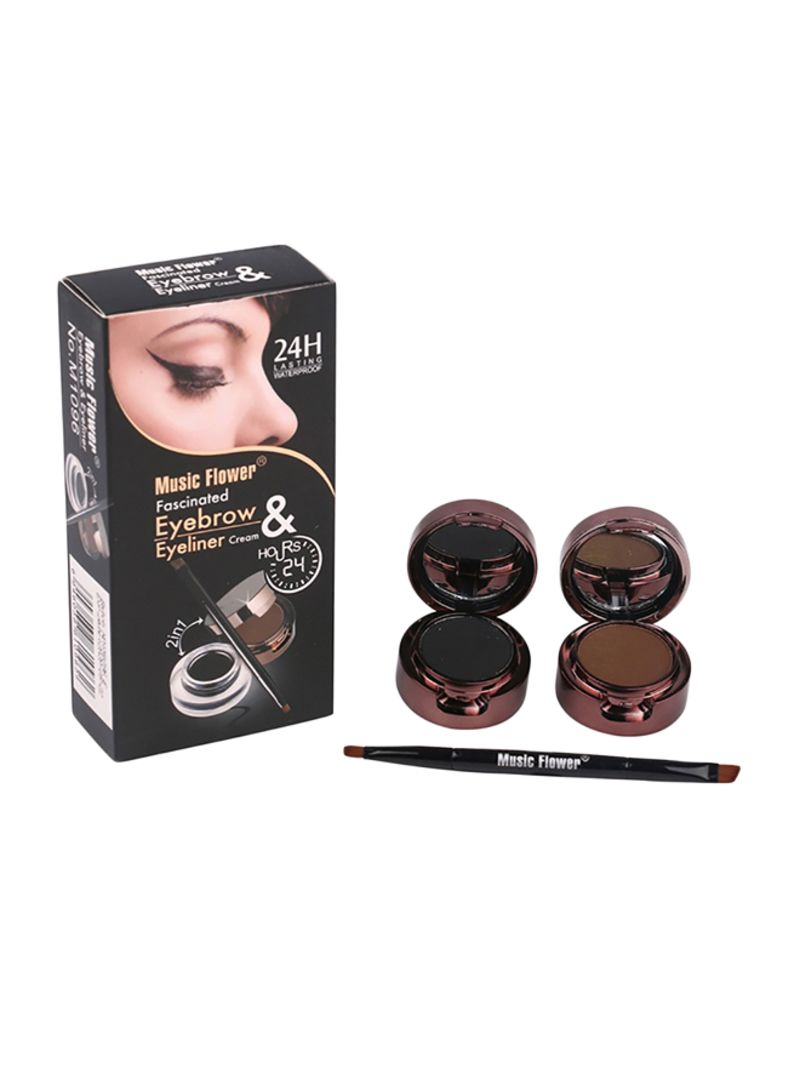 2-In-1 Long Lasting Eyeliner Gel With Eyebrow Powder Black/Brown