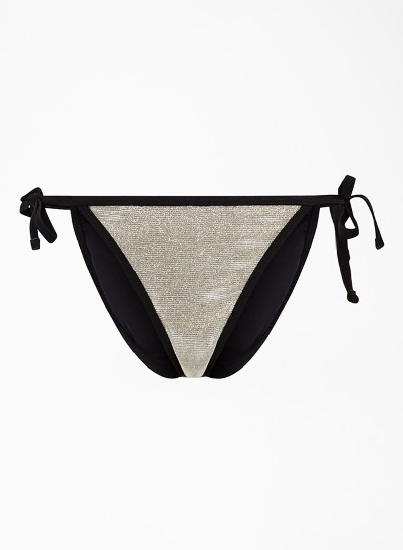 Glitter Side Tie Bikini Bottoms Black/Gold