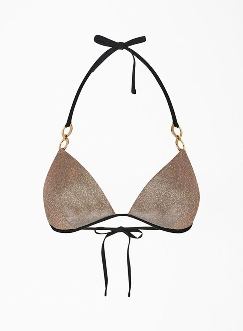 Glitter Side Tie Bikini Bottoms Gold