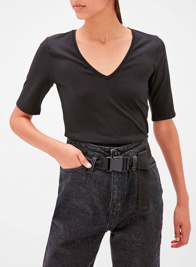 Ribbed V-Neck Short Sleeve Top Black