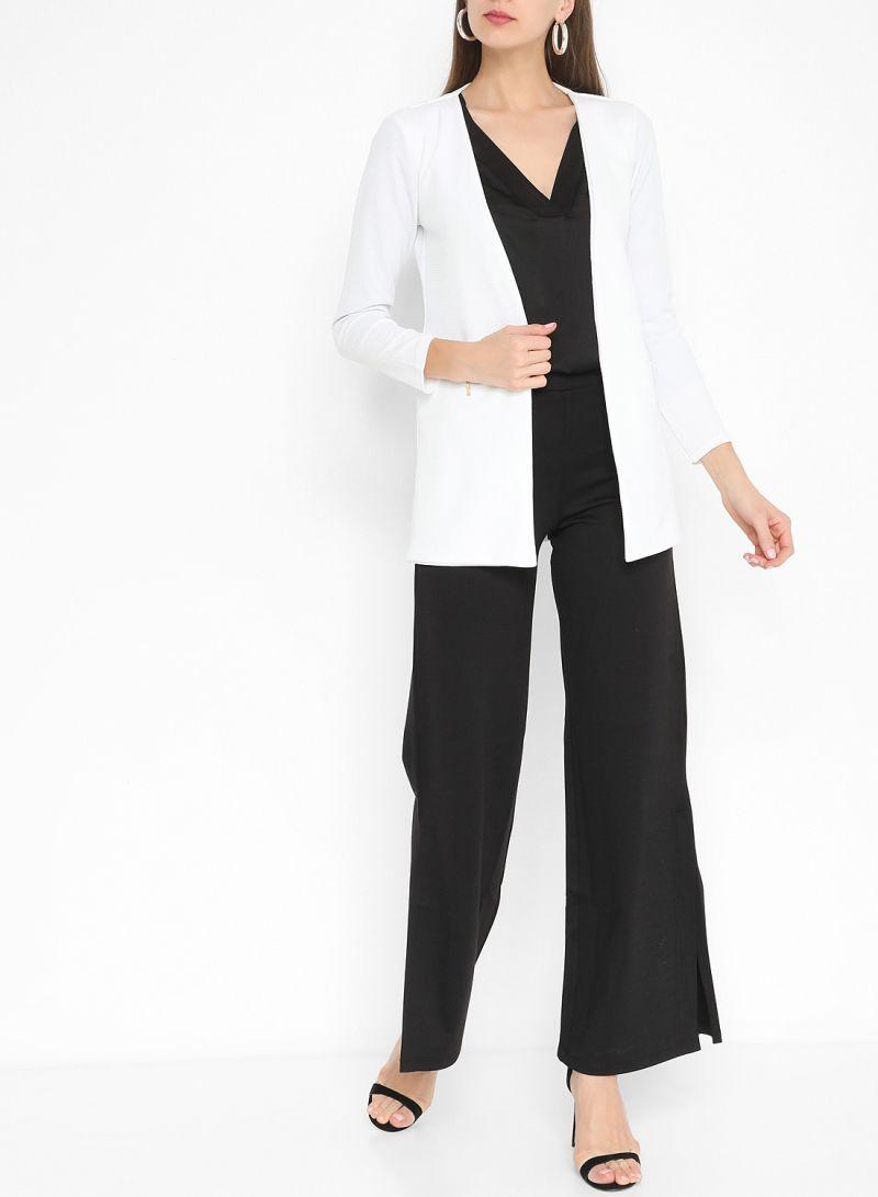 Textured Zipper Detail Outerwear White