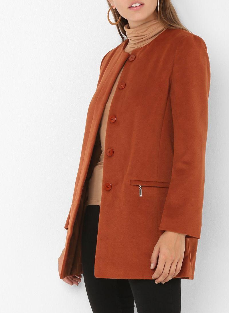 Zipper Pocket Long Sleeve Jackets Brown