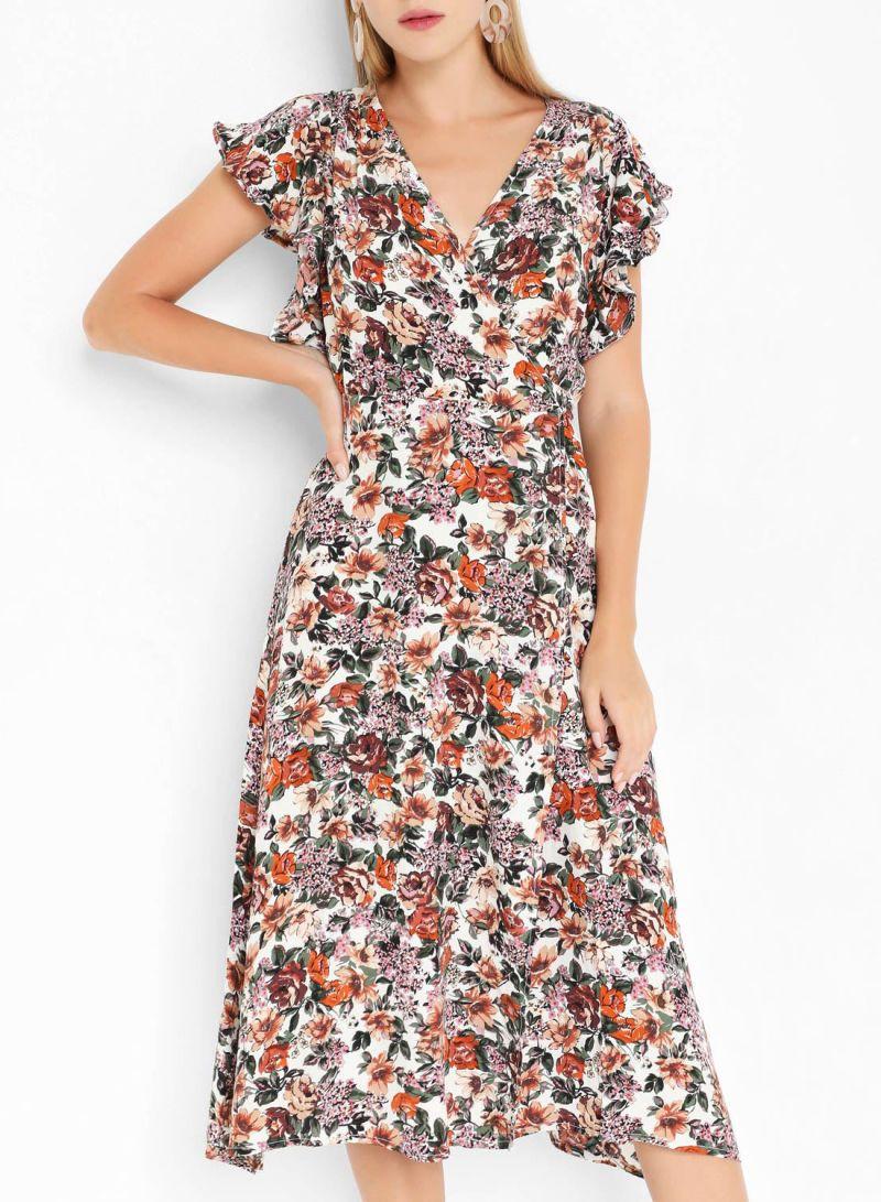 Floral Print Wrap Short Sleeve Dresses Multi