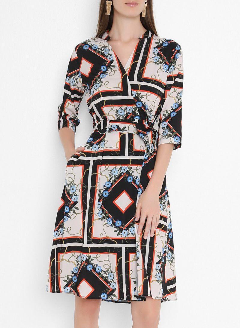 Belted Wrap Detail Short Sleeve Dresses Multicolour