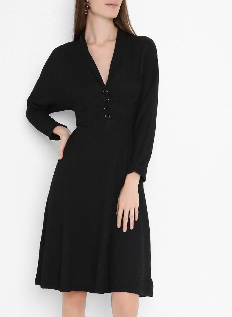 Button Detail Mini Long Sleeve Dresses Black