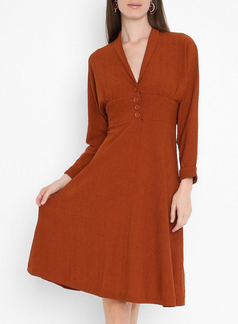 Button Detail Mini Long Sleeve Dresses Tan