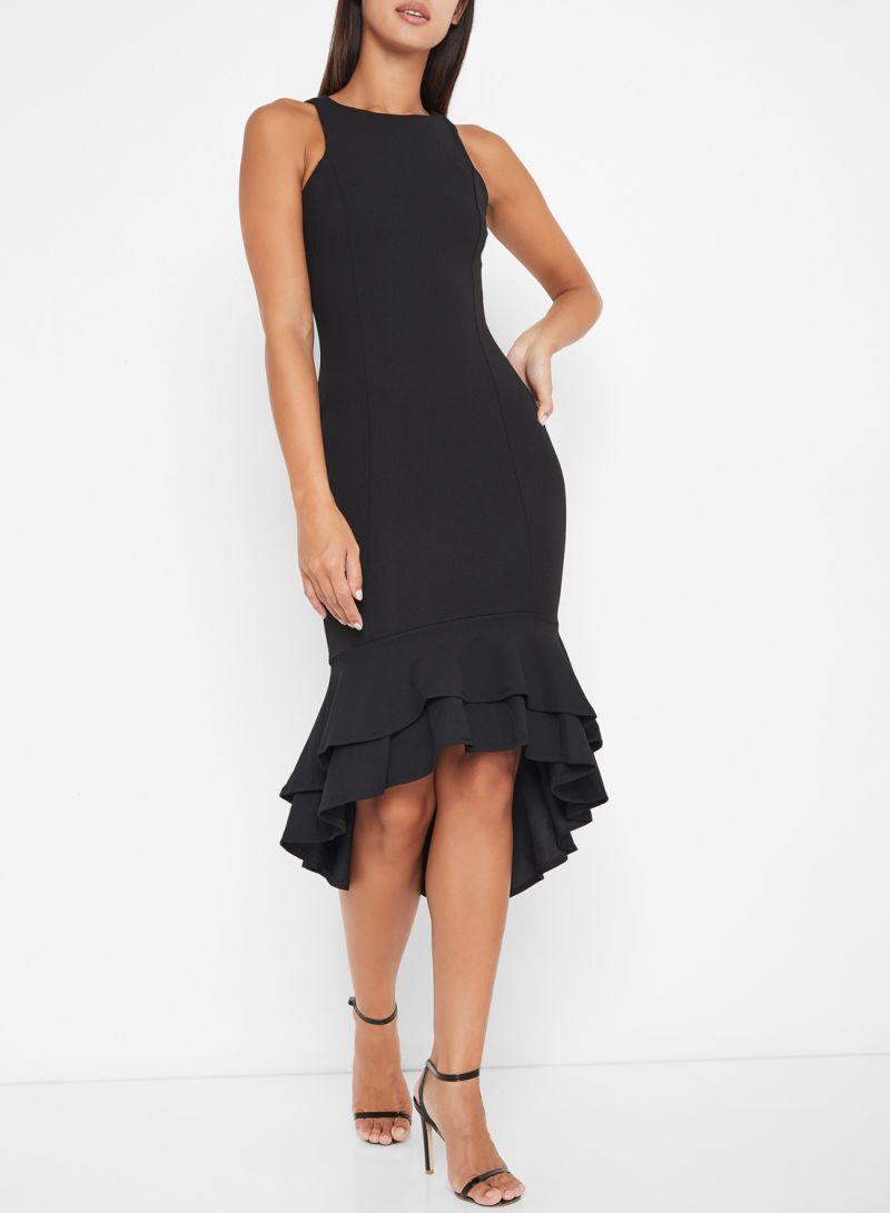 Ruffle Hem Midi Sleeveless Dresses Black