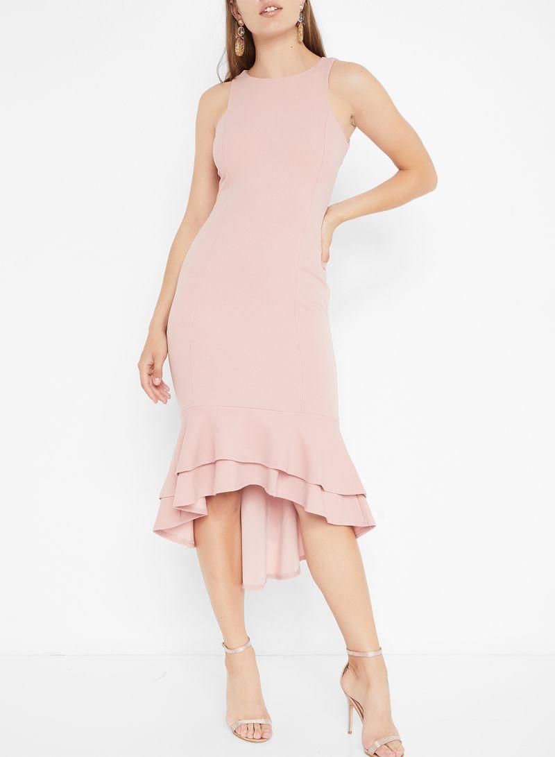 Blush Ruffle Hem Midi Sleeveless Dresses Pink