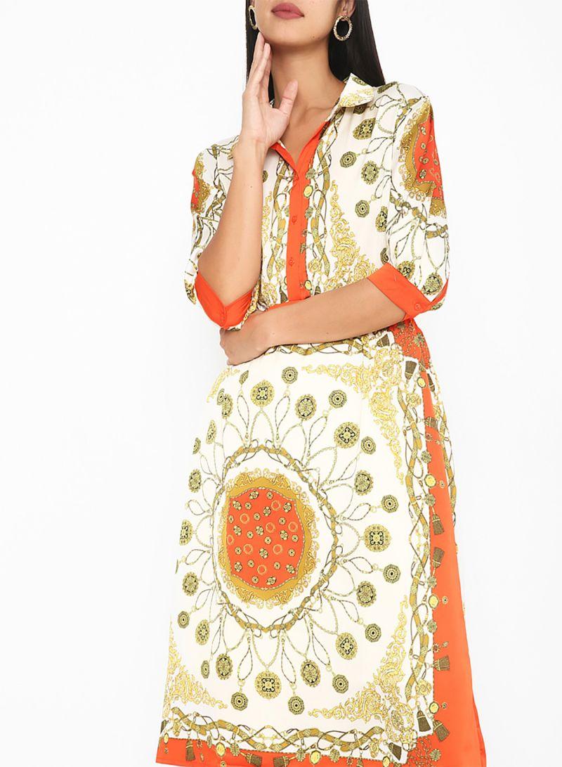 Chain Printed Short Sleeve Dresses Orange