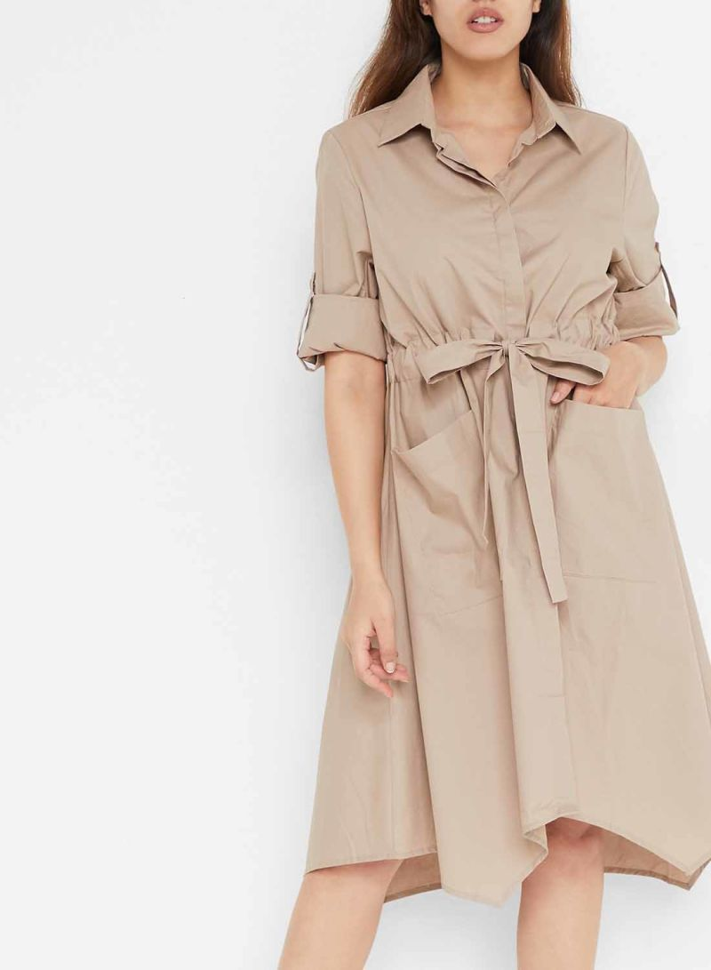 Taupe Belted Dual Pocket Long Sleeve Dresses Taupe