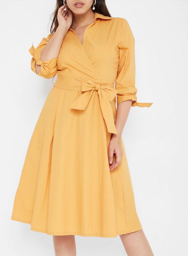 Belted Tie Sleeve Dresses Mustard