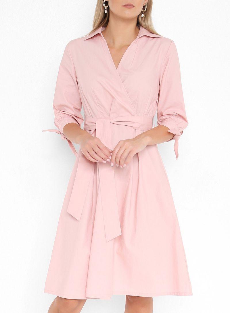 Belted Tie Sleeve Dresses Pink