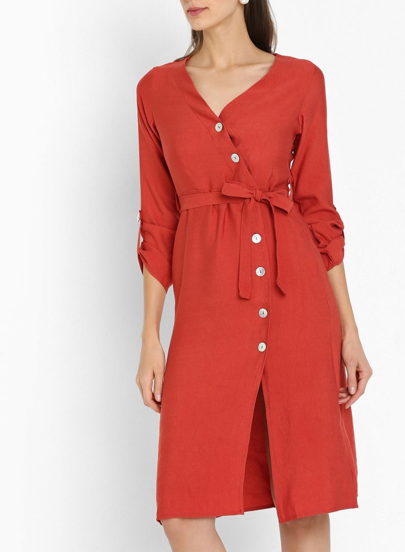 Rust Buttoned Belted Long Sleeve Dresses Rust