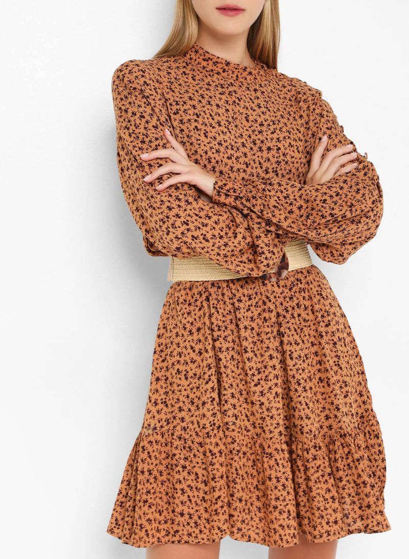 Ditsy Print Elasticated Waist Long Sleeve Dresses Brown