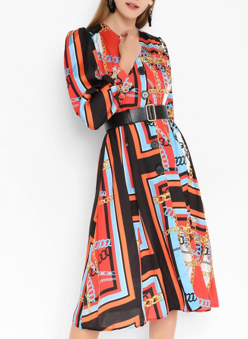 Chain Print Front Slit Long Sleeve Dresses Multicolor