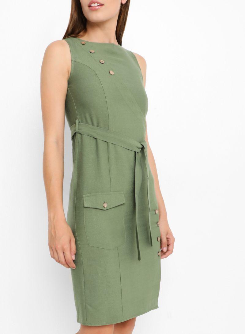 Button Detail Belted Dresses Khaki